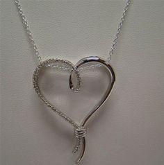 "925 STERLING SILVER NECKLACE PENDANT SLIDE 18"" CHAIN HEART .10 CTTW DIAMOND 7.1g #SUN #Pendant"