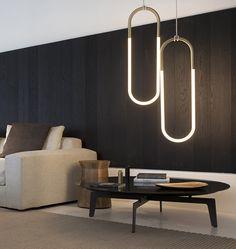 modern pill shaped minimalistic pendant lamp: Rudi Loop by Roll & Hill — Poliform, New York #inspiration #hanging #light