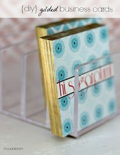 Hi Sugarplum | Simple DIY Gilded business cards Give your cards a little something special!