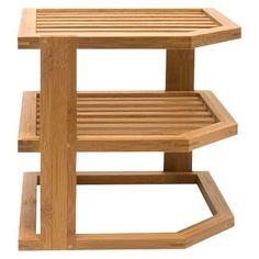 Lipper International Bamboo Three Tier Corner Shelf