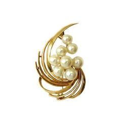 Vintage Mikimoto 14K Gold and Cultured Pearl Brooch, c. 1960. $950