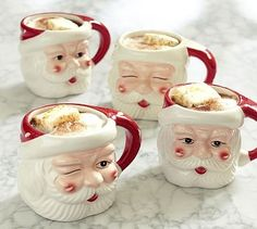 Santa Mugs, Mixed Set of 4