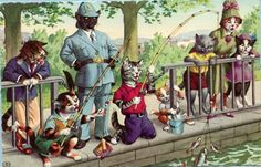 Fishing Mainzer dressed cats Postcard no. 4925, printed in Belgium, Alfred Mainzer cats postcard by sharonfostervintage on Etsy