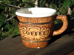 Vintage coffee cup, rustic coffee mug, brown, ceramic, 16 oz