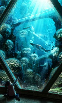 New City Landscape Illustration Atlantis Ideas Under The Water, Under The Sea, Fantasy City, Fantasy Places, Futuristic City, Futuristic Architecture, City Landscape, Fantasy Landscape, Underwater City
