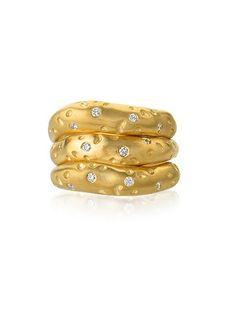 14K Gold Triple Alligator Diamond Stacking Rings – size 6