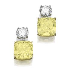 Pair of fancy intense yellow diamond and diamond pendent earrings, Graff - Sotheby's Graff Jewelry, High Jewelry, Jewelery, Silver Jewelry, Titanic Jewelry, Colored Diamonds, Yellow Diamonds, Tiffany Necklace, Diamond Earrings