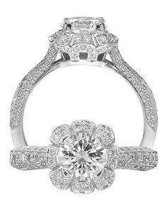 White Gold Floral-Designed Ring from Ritani