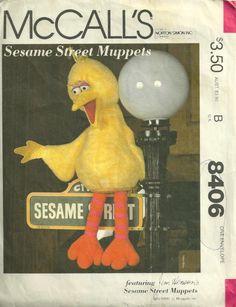 McCalls 8406 1980s Jim Hensons Sesame Street Muppet Big Bird Doll Pattern 35 Inches Stuffed Animal Vintage Sewing Pattern by patterngate.com