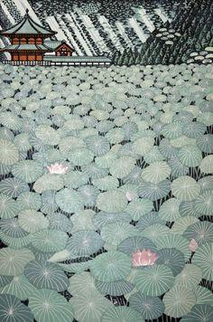 "Coyote Atelier illustration inspiration: ""Lotus Pond"" woodblock 2007 by Ray Morimura (b. Japan Illustration, Art Asiatique, Art Japonais, Japanese Prints, Modern Japanese Art, Japanese Lotus, Japanese Water, Traditional Japanese Art, Japanese Landscape"