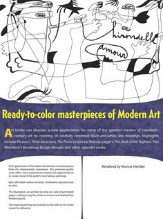 Dover MasterWorks Color Your Own Modern Art Paintings Rendered by Muncie Hendler