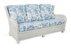 "Francisco 74"" Sofa, White/Blue"