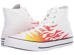 Converse Chuck Taylor All Star Canvas Archive Flame Print - Hi Shoes White/Enamel Red/Fresh Yellow Look Com All Star, Birthday Presents For Boys, All Star Branco, Tube Socks, Converse Chuck Taylor All Star, Dream Shoes, White Enamel, Womens Slippers, Yellow