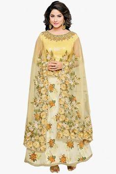 Light Yellow Delightful Designer Embroidered Faux Georgette Anarkali Suit