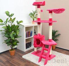 Katzenkratzbaum Pia ca. 142 cm Kratzbaum Katzenbaum mittelgroß echtes Sisal Pink: Amazon.de: Haustier