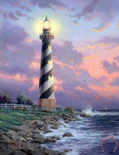 Thomas Kinkade Cape Hatteras Light painting - Cape Hatteras Light print for sale