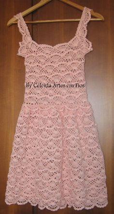 Celeida Artes em Fios: Vestido em crochê rosa aquarelle!