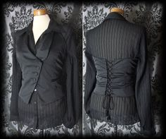 Goth Black Lace Up MORTAL COIL Fitted Corset Waistcoat 12 14 Victorian Steampunk - £29.00