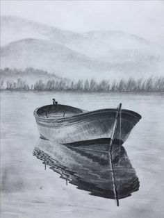$100 Row boat sketch. Original art, graphite pencil drawing by Elena Whitman. Love rippled reflections on the water.