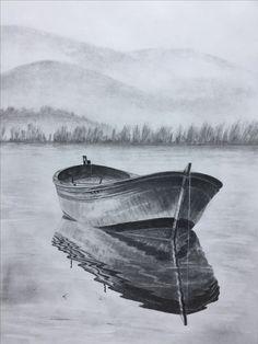 Original art, graphite pencil drawing by elena whitman. Boat Drawing, Pencil Sketch Drawing, Water Drawing, Pencil Art Drawings, Realistic Drawings, Art Drawings Sketches, Drawing Ideas, Drawing Drawing, Drawing Faces