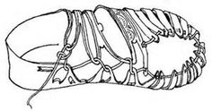 Drawing of a shoe found with a man's body in the bog at Obenaltendorf ...