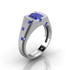 New - Men's Modern 950 Platinum 1.25 Carat Princess Blue Sapphire Wedding Ring R585M-PLATSBS by Gnel K Designs at Art Masters Jewelry