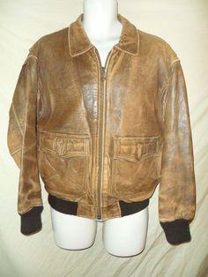 "VINTAGE Men's ""Outback Red"" Brown Leather Flight Bomber Jacket Distressed Look-S #OutbackRed #FlightBomber"