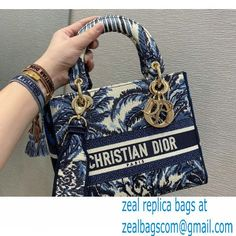 Lady Dior Medium D-Lite Bag in Blue Palms Embroidery 2021