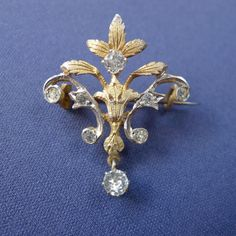 Fine Victorian Gold on Sterling Silver Brooch  Antique Vermeil Pin