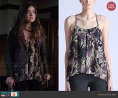 Aria's abstract printed loose fit cami and purple leather jacket on Pretty Little Liars.  Outfit Details: http://wornontv.net/45661/ #PLL