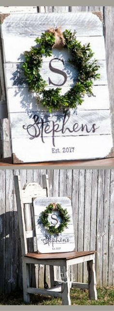 Boxwood Wreath with Monogram, Wreath Signs, Housewarming gift, Wedding Shower gift, Initial Sign, Shiplap Sign, Shiplap decor, Farmhouse decor, Farmhouse sign, Established Wood Sign, Custom Sign, Rustic decor, Rustic sign #ad