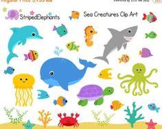 EN venta en el arte de clip de mar pescados clip por petittatti