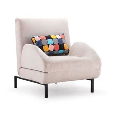 Perfect for overnight guests or lounging in your reading nook, this charming sleeper arm chair showcases contemporary rounded arm and a sleek fold-out design...