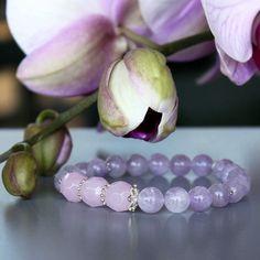 Amethyst, rose quartz and sterling silver bracelet