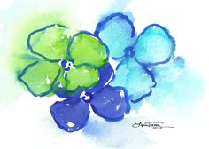Abstract Watercolor Painting in Green and Blue.