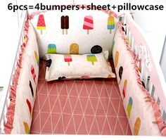 Promotion! 6pcs baby bumper baby crib bedding sets baby nursery bedding sets ,(bumpers+sheet+pillow cover)