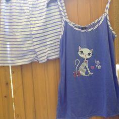 NewTank Top & Short Pajama Set 'Love' Cat. Purple & White Tank Top and Short Pajama Set. Very Soft. Tank Top has adjustable Straps. Brand New, boutique. Victoria Intimates & Sleepwear Pajamas