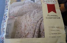 Sonoma Winter Fun Flannel Comforter Cotton Twin Size NEW Cute Winter Design +Bag #Sonoma