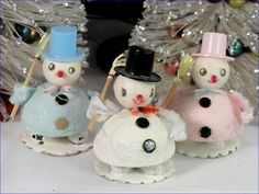 Trio Vintage Frosted Snowmen Christmas Ornaments Pink Blue White | eBay