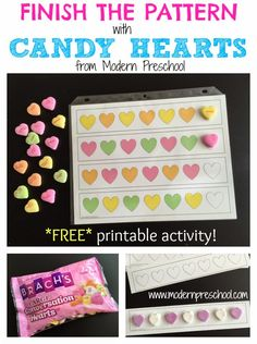 Free easy printable candy heart math patterns for preschool and kindergarten from Modern Preschool! Candy hearts can be used finish the free printable patterns for preschoolers and kindergarteners. Perfect for a Valentine's Day theme learning center. Free Preschool, Preschool Themes, Preschool Printables, Preschool Lessons, Math Activities, Preschool Activities, Preschool Winter, Math Patterns, Heart Patterns