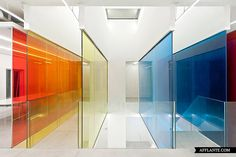 The design for the headquarters of 21 Cake, a popular gourmet cake franchise, relies on the interaction of the three primary colors: red, yellow and blue. Selected walls of the office, namely those along circulation areas, are made of laminated colored glass. These glass panels of primary colors are 'layered' to create a full spectrum of changing colors.    Read more: http://afflante.com/19206-21-cake-beijing-office-peoples-architecture-office/#ixzz2QTt43K59