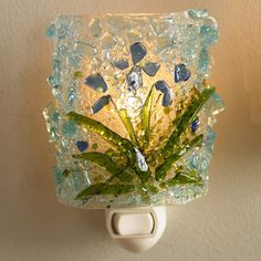 fused recycled glass night light