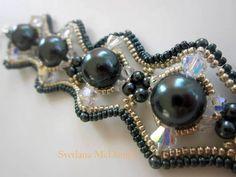 ▶ Beaded Bracelet Tahitian Swarovski pearl crystals seed beads Браслет бисер и жемчуг - YouTube