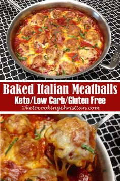 Baked Italian Meatballs - Keto, Low Carb & Gluten Free Oh how I love the smell of Italian food cooking in my kitchen! Oh how I love the smell of Italian food cooking in my kitchen! Tender and flavorful Italian meatballs sitting in marinara sauce and cov Low Carb Dinner Recipes, Healthy Recipes, Diet Recipes, Cooking Recipes, Smoothie Recipes, Dessert Recipes, Shrimp Recipes, Cooking Ham, Budget Cooking