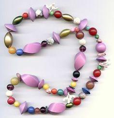 "Vtg 1980s OOAK Colorful Lavender Mixed Gem Wood etc Pop Art Beaded 25"" Necklace"