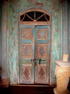 distressed wood door