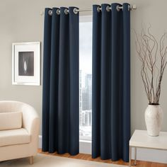 Majestic Blackout Lined Grommet Window Curtain Panel