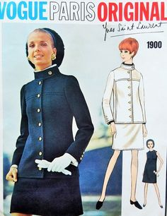1960s MOD Yves Saint Laurent Dress and Jacket Pattern VOGUE PARIS Original 1900 Military Design Longer Length Jacket, Slim Shift Dress Beautiful YSL Details Bust 36 Vintage Sewing Pattern