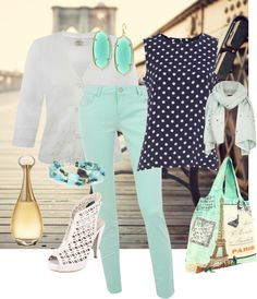 Navy and mint, created by mamallama71 on Polyvore