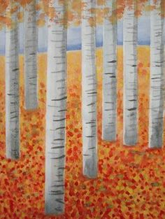 Autumn birch trees...instructions given Great lesson!  Will do this next fall…